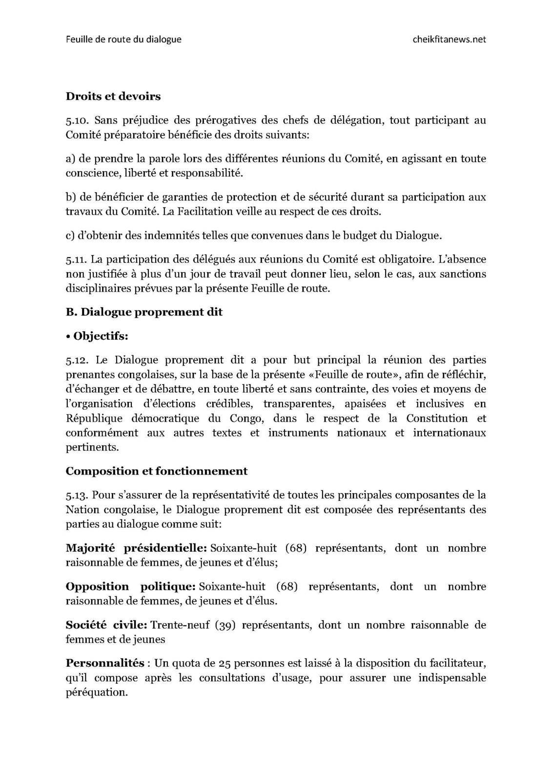 Document. Feuille de route du Dialogue de Kodjo