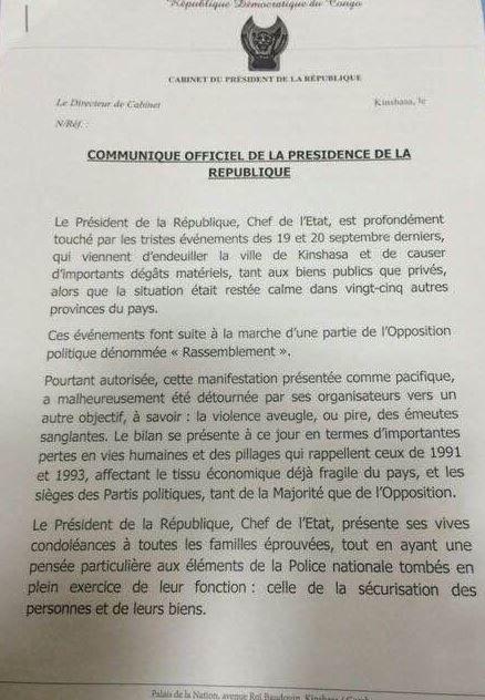 Document. Communiqué de la Présidence congolaise de l'après 19 septembre