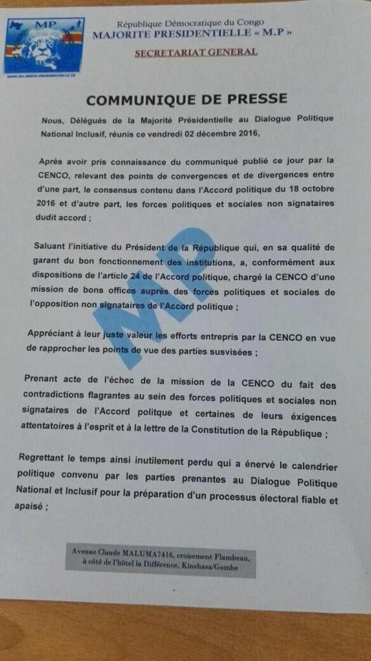 Fin de règne, guerre de communiqué : Cenco-MP-Rassemblement, les entourloupettes