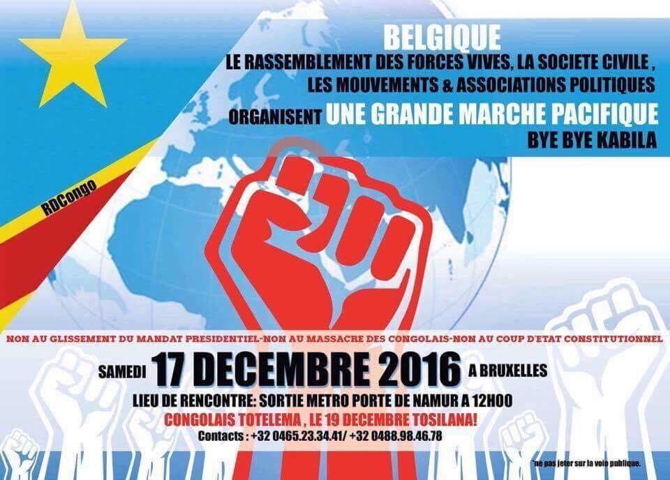 Fin de règne, marche «Bye Bye Kabila à Bruxelles» le samedi 17.12.2016