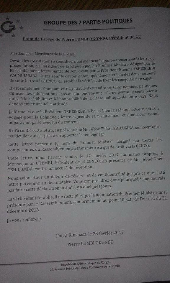 Pierre Lumbi: «J'affirme que le Président Tshisekedi a bel et bien laissé une lettre...»