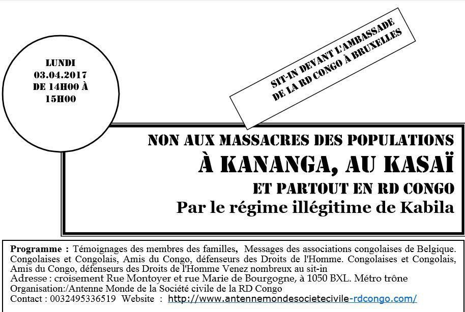 Communiqué de presse, tueries à Kananga, au Kasai, sit-in à Bruxelles, devant l'ambassade de la RDC
