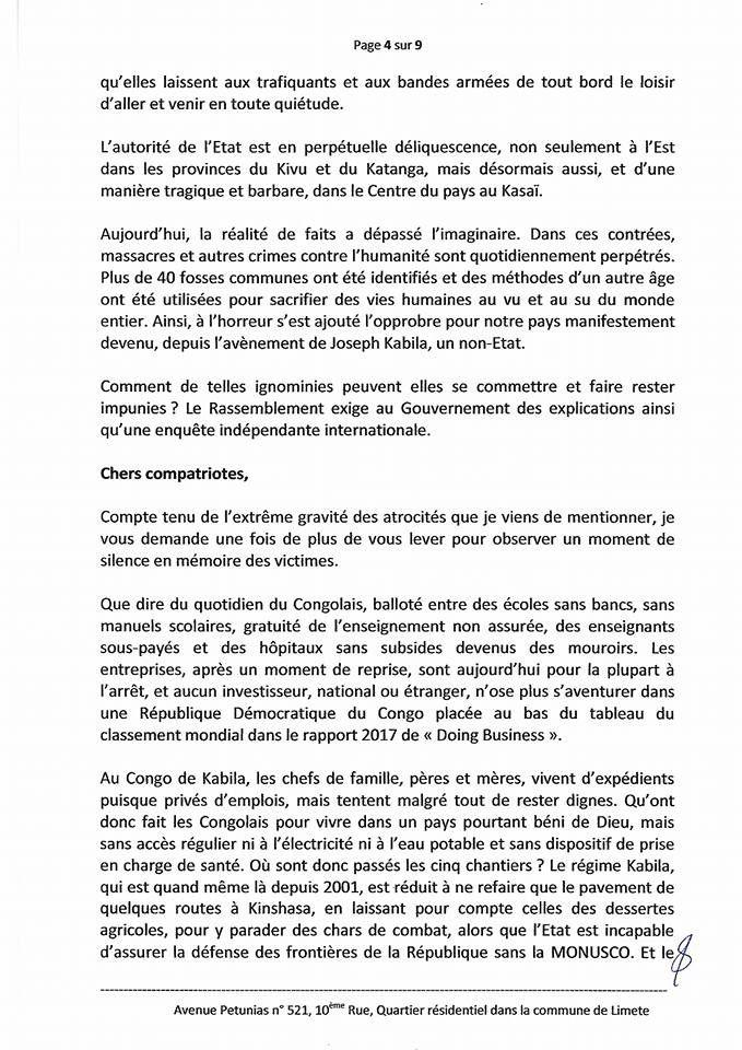 Kinshasa, bientôt un mot d'ordre du « Rassemblement » contre les institutions hors mandat