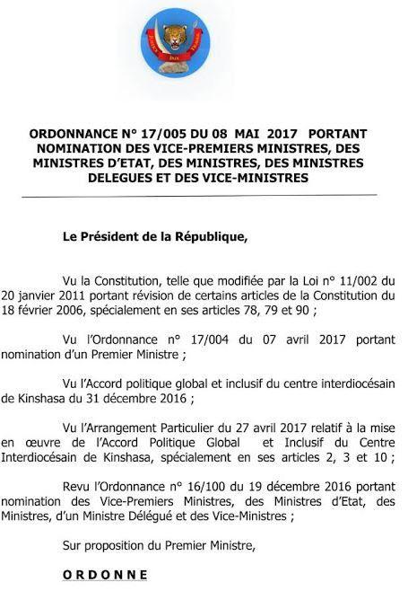 Putsch du 9 mai 2017, Joseph Kabila a actionné l'article 64 de la constitution congolaise