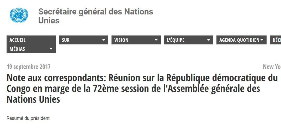 Document. Compte-rendu de la réunion sur la RD Congo en marge de l'AG de l'ONU (72ème session)