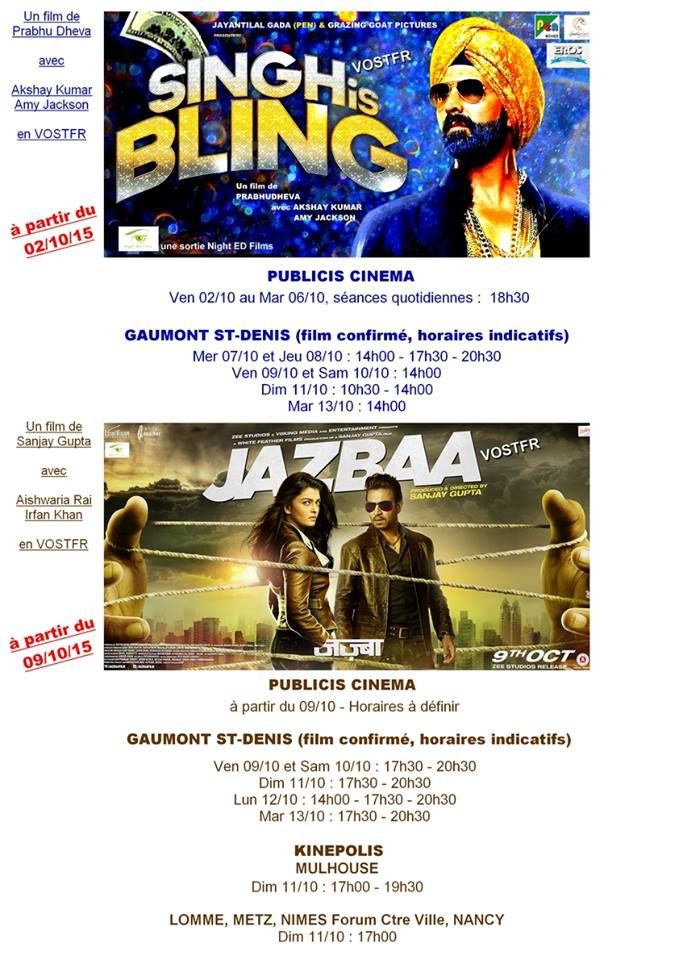 SINGH IS BLING &amp&#x3B; JAZBAA - FRANCE SHOWTIMES