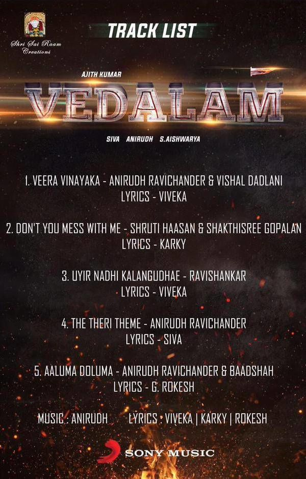 VEDALAM TRACK LIST