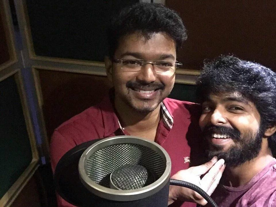 Vijay at CHELLAKUTTY song recording