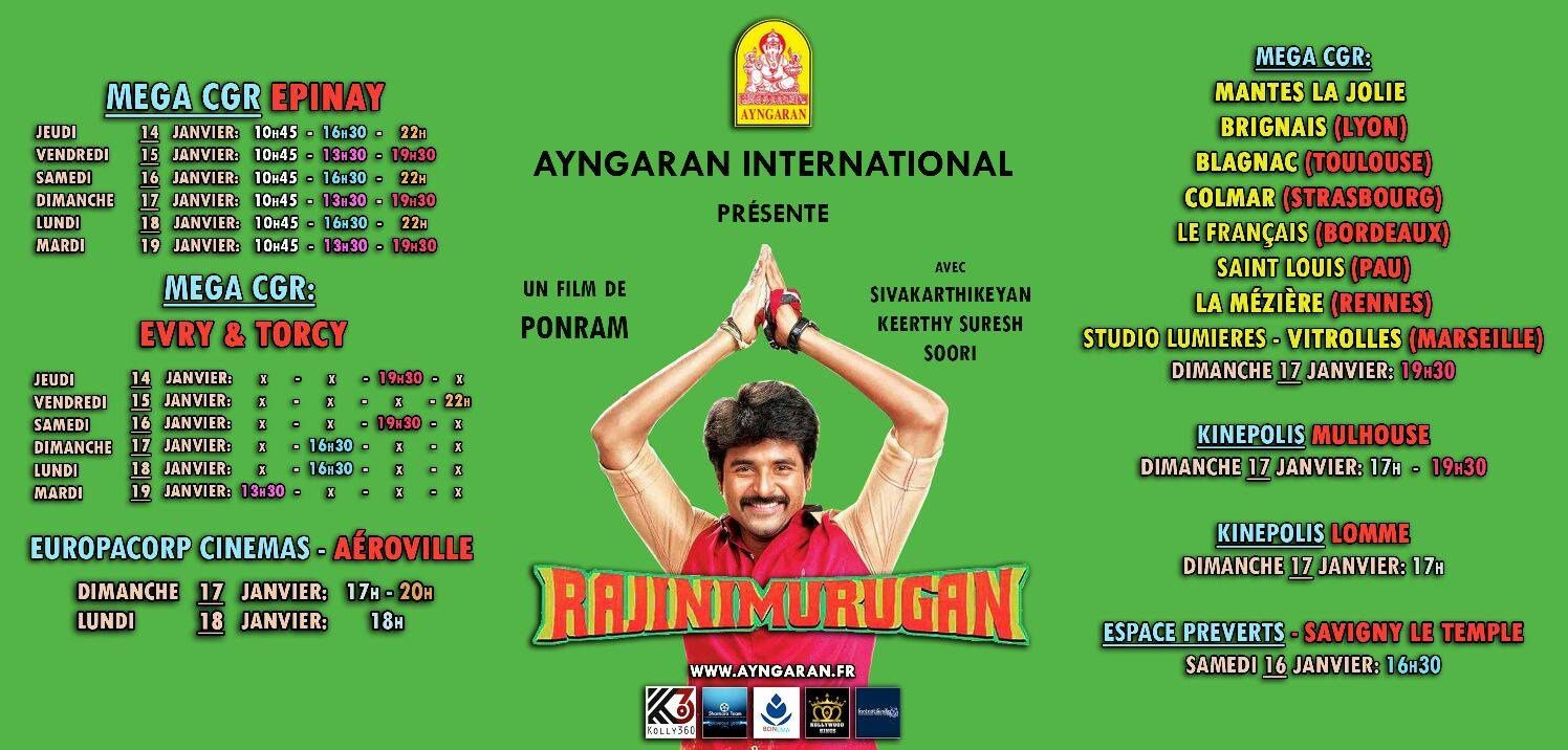 RAJINIMURUGAN - FRANCE SHOW TIMES