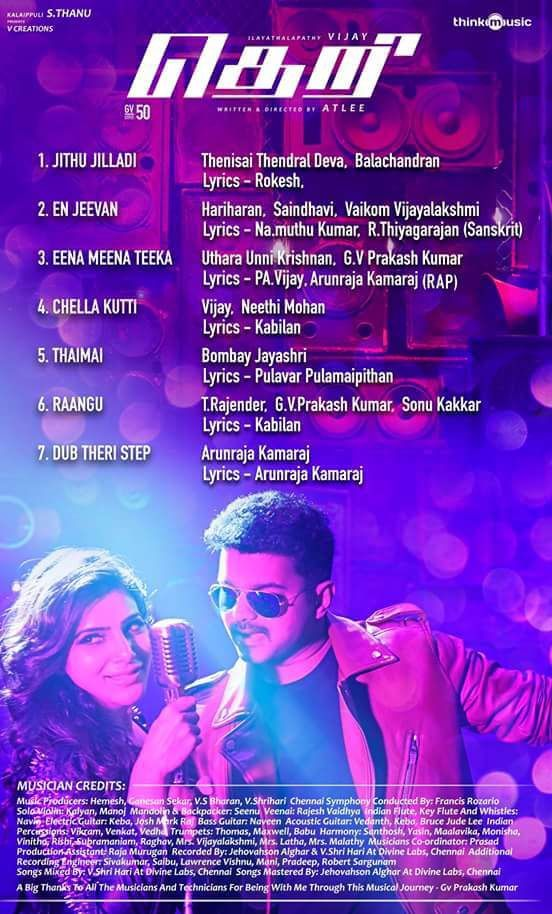 THERI SONG TRACKLIST !!!