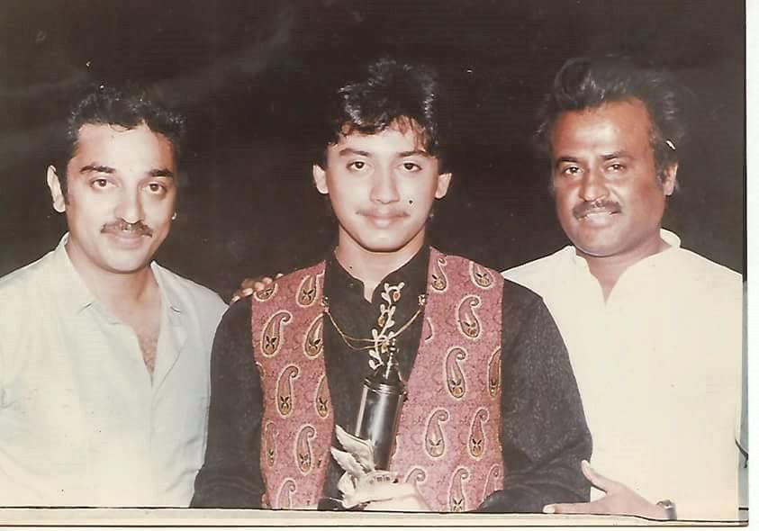 RARE PIC - PRASHANTH WITH SUPERSTAR RAJNIKANTH &amp&#x3B; KAMAL HASSAN
