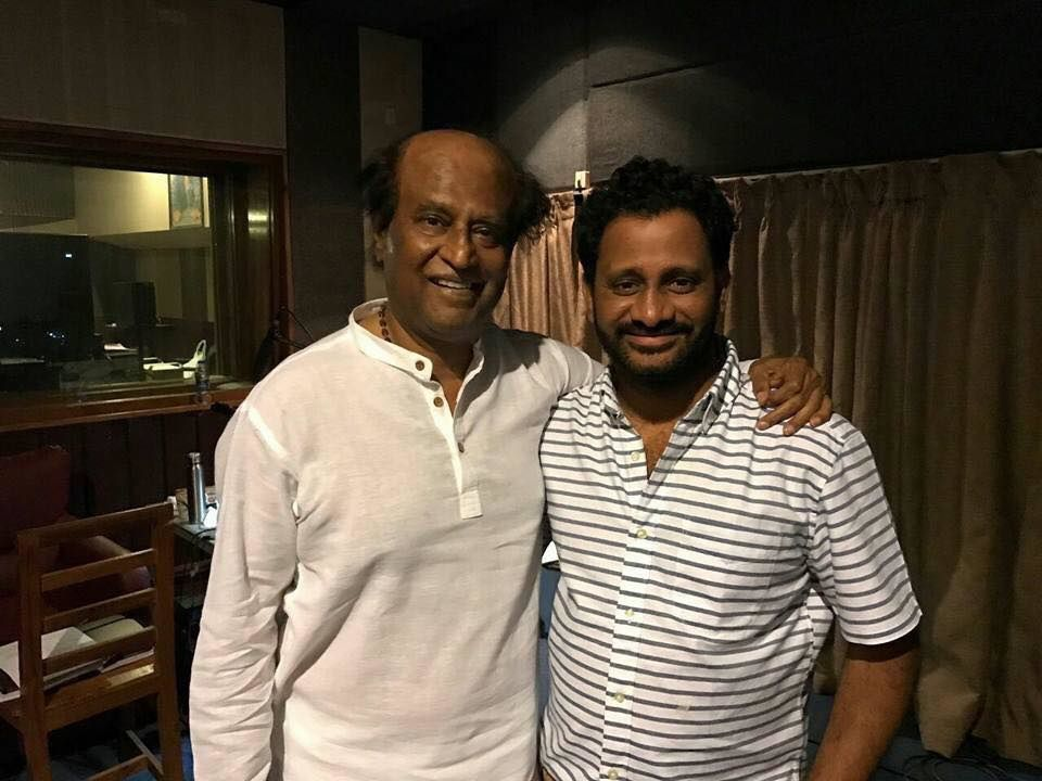 SUPERSTAR RAJNIKANTH IN THE DUBBING STUDIO FOR 2.0 WITH RESUL POOKUTY !