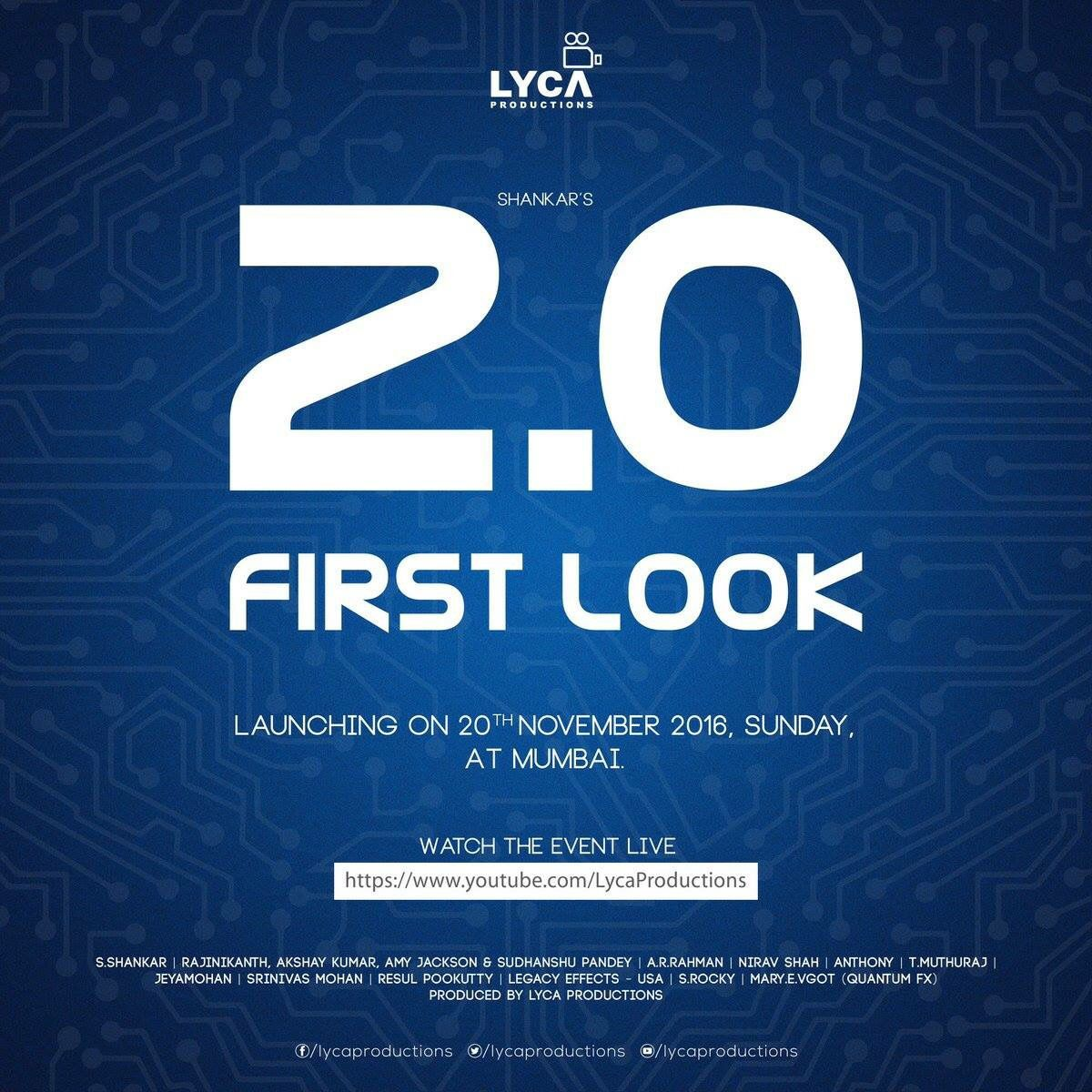 Super Star RAJINI &quot&#x3B;2.0&quot&#x3B; First Look le 20 Novembre à Mumbai !