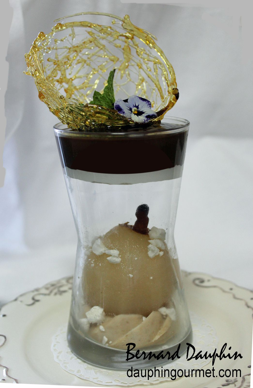 VERRINE POIRE-MARRONS EN SUSPENSION, FAÇON BELLE-HELENE
