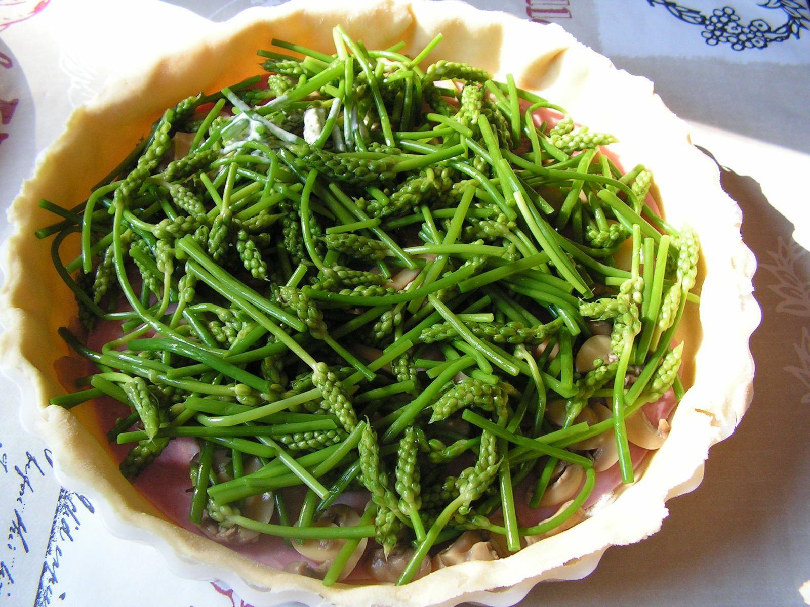 Tarte aux asperges sauvages et jambon
