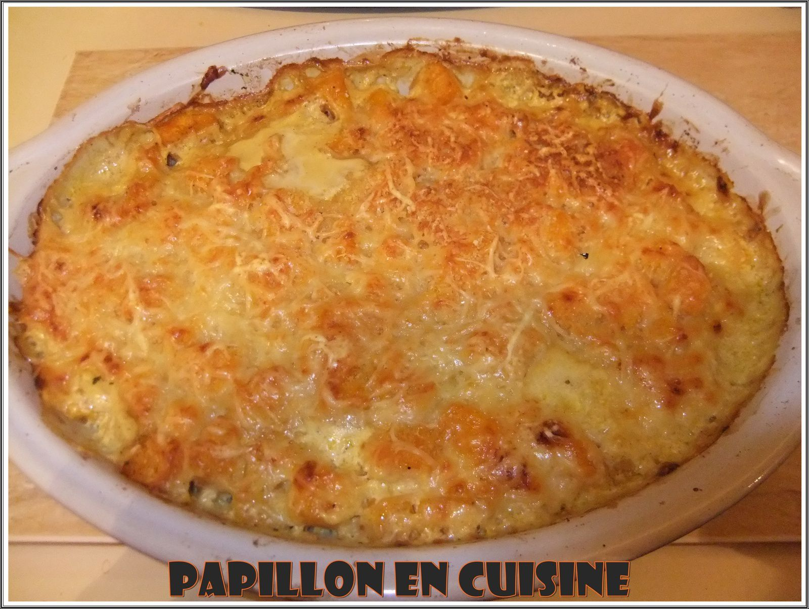 recette gratin de potiron au curry et aux deux fromages papillon en cuisine. Black Bedroom Furniture Sets. Home Design Ideas
