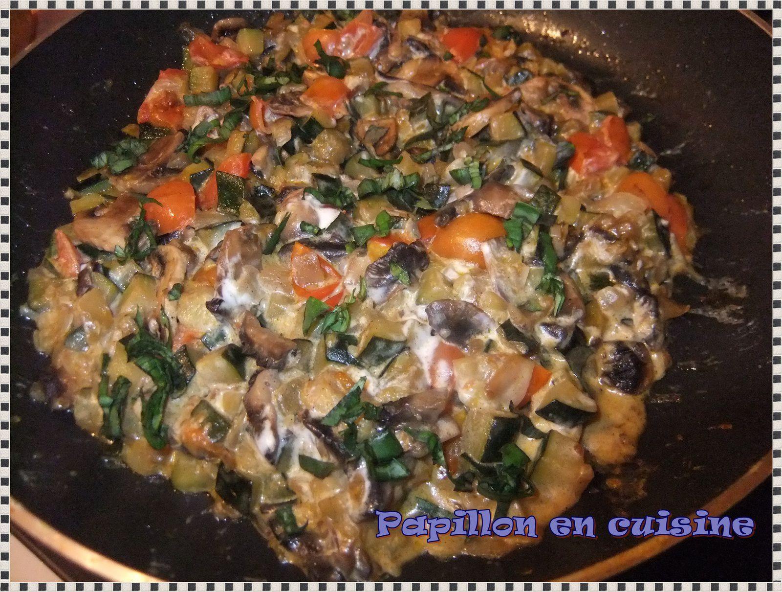 Recette po l e de champignons courgette et tomates papillon en cuisine - Champignon de paris recette poelee ...