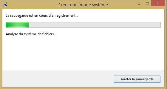 Créer une image système sur une partitions sous Windows 8.1