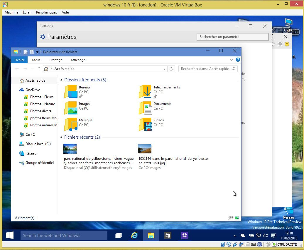 Tester Windows 10 Fr en virtuelle avec virtualbox Fr