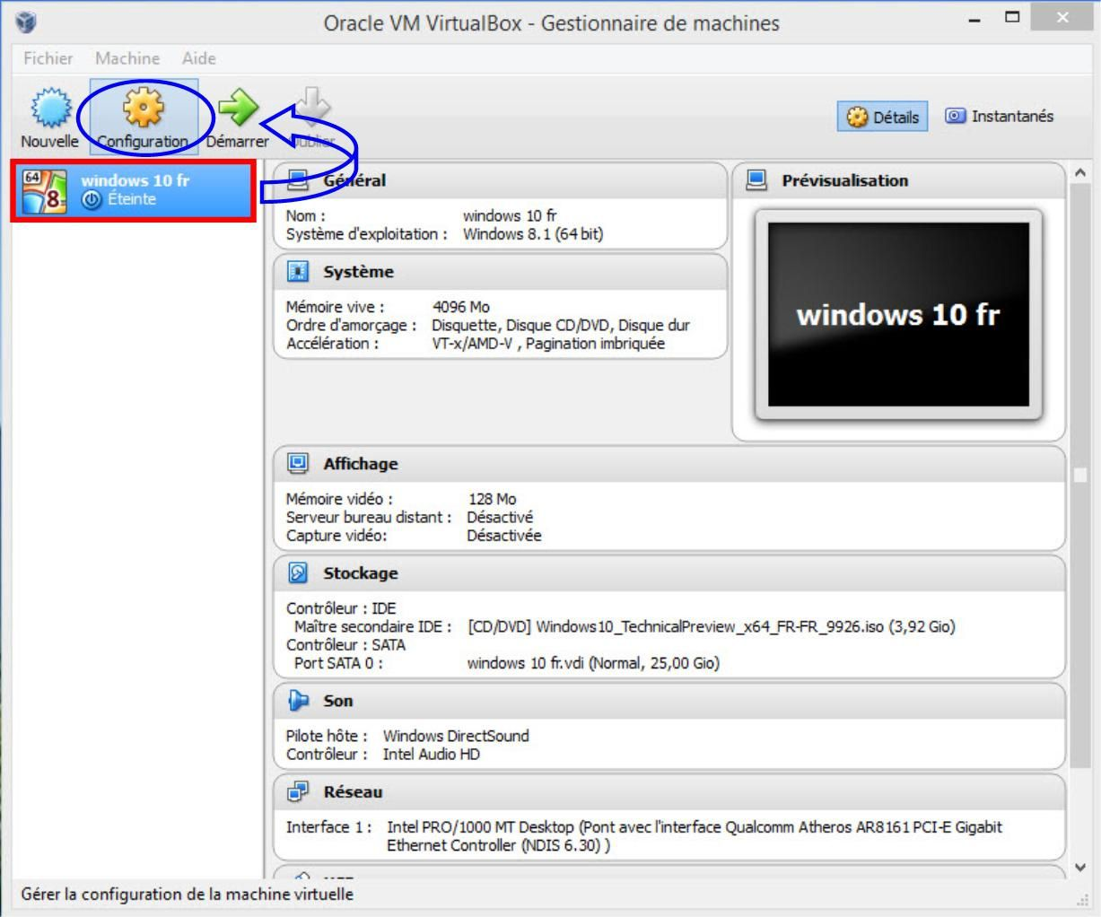 Configuration VirtualBox- Gestionnaire de machine.