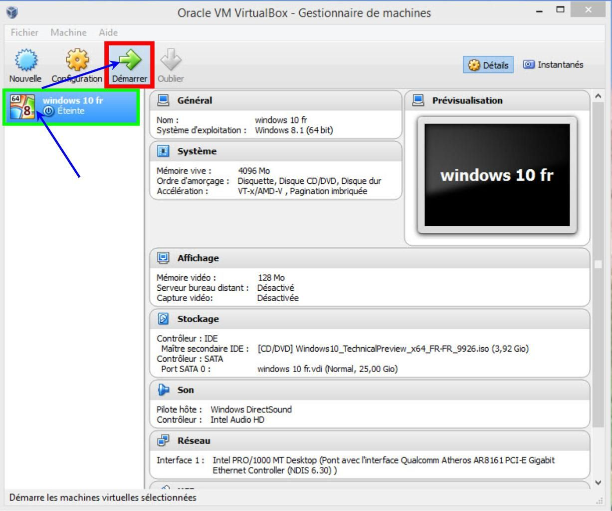 Installer Windows 10 fr sous virtualbox