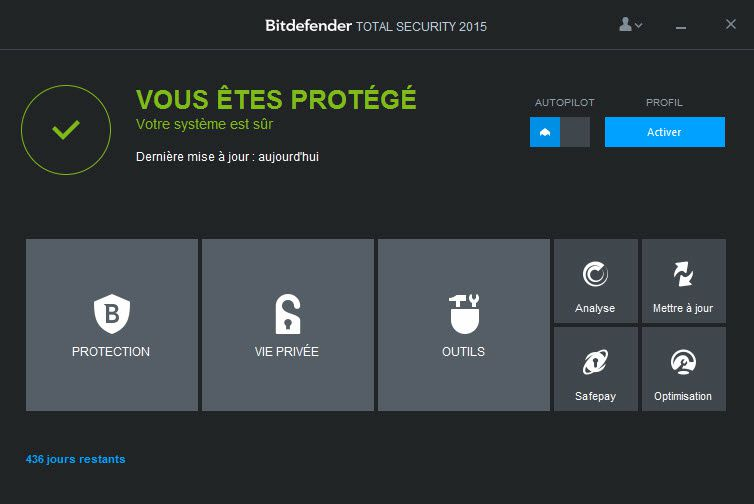 Reinstallation de la protection bitdefender total security