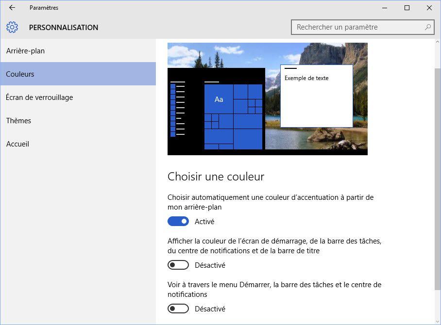 Personnaliser la couleur sous Windows 10