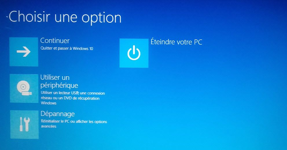 Option de récupération sous Windows 10