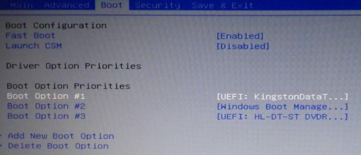 Modifier le boot séquence du bios sous Windows 10