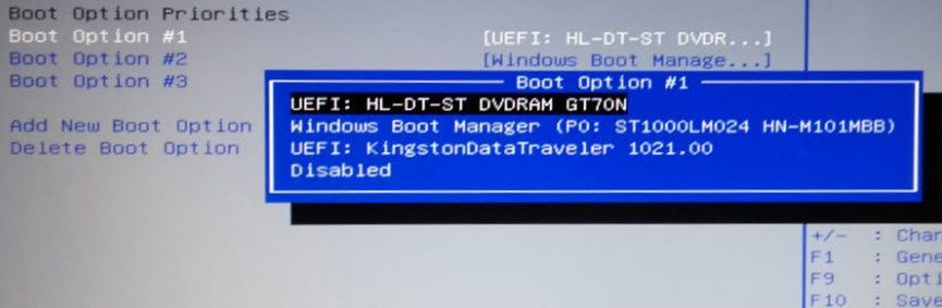 Modifier le boot séquence du bios sous Windows 10