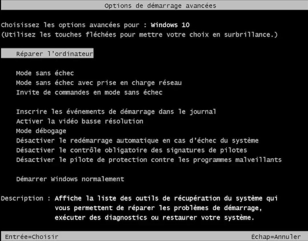 Réactiver la touche F8  au démarrage de Windows 10
