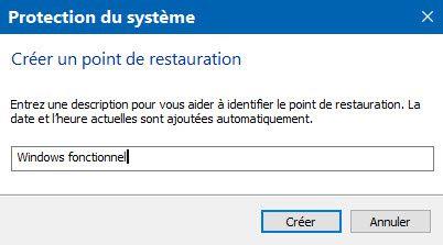 Créer un point de restauration système sous Windows 10