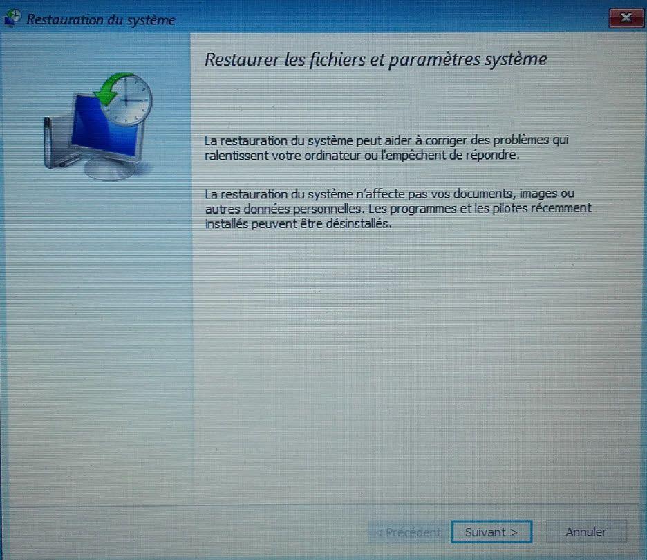 Restaurer l'ordinateur et sélectionner un point de restauration sous windows 10