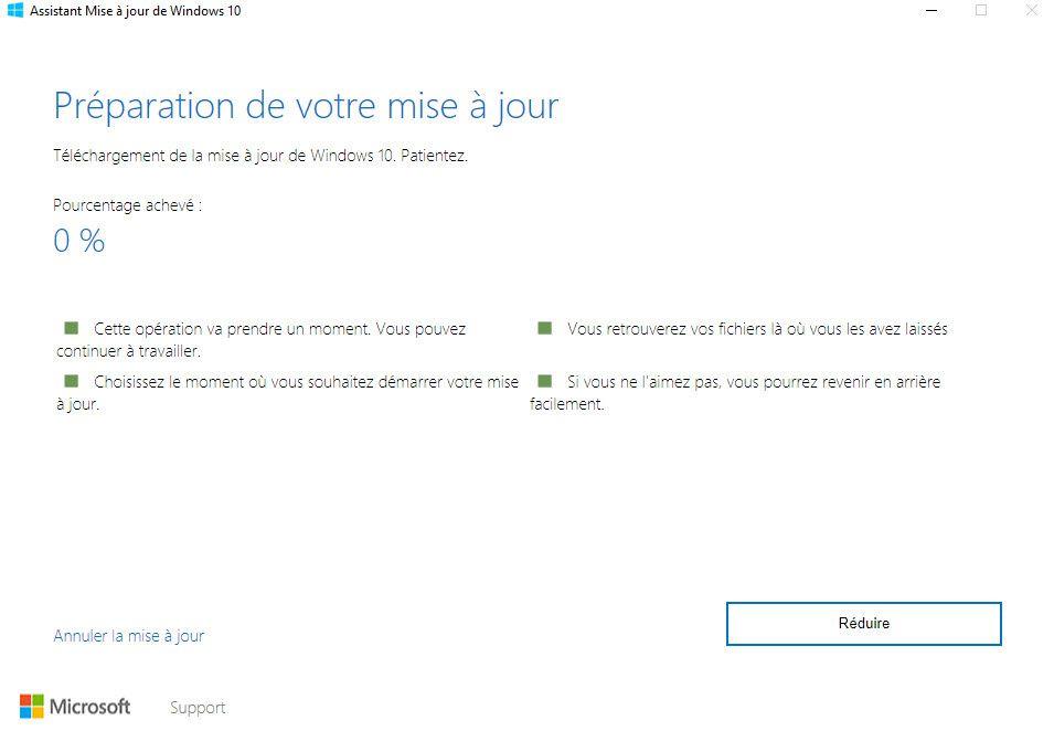 Mise à jour en téléchargement manuel : Windows 10 Creators Update
