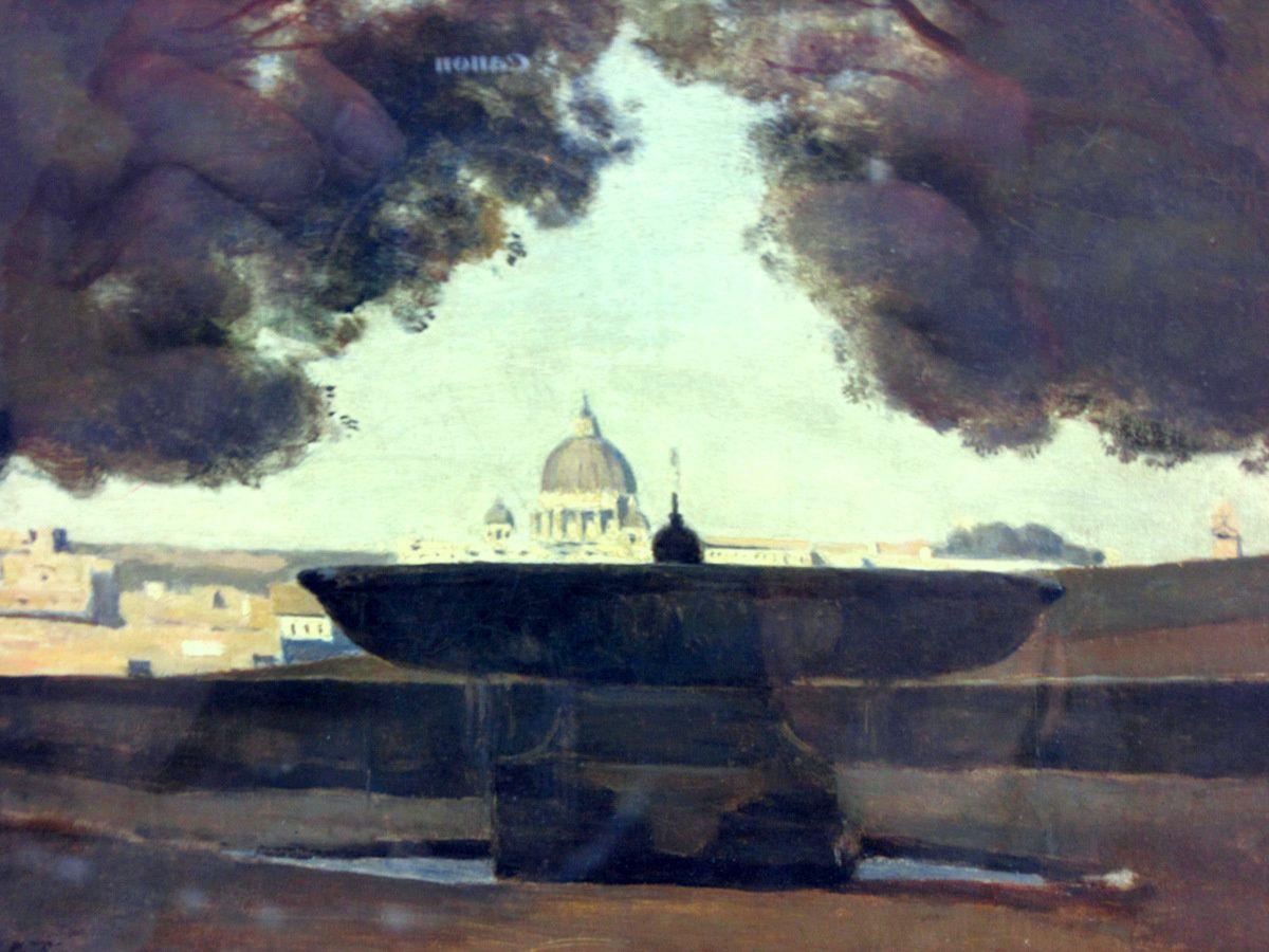 Jean-Baptiste Corot, la vasque de l'Académie de France à Rome