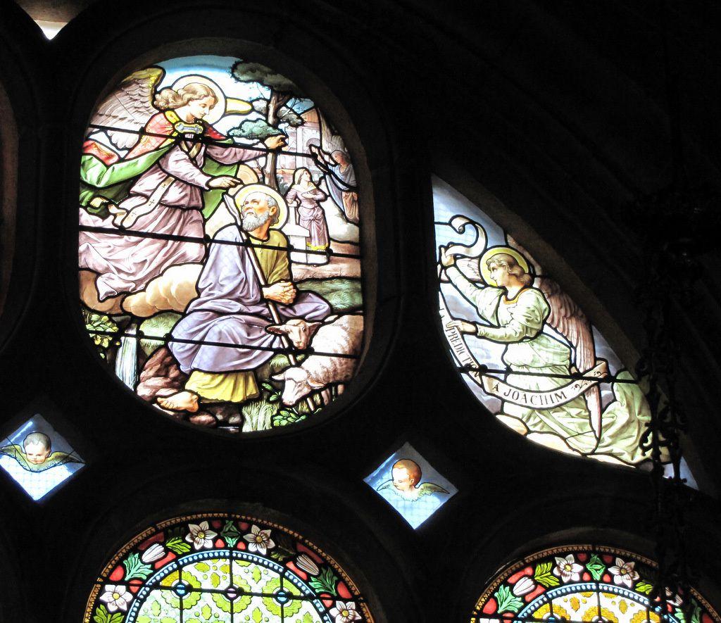 Vitrail 'La Prédiction à Joachim', église Notre-Dame de Pontoise
