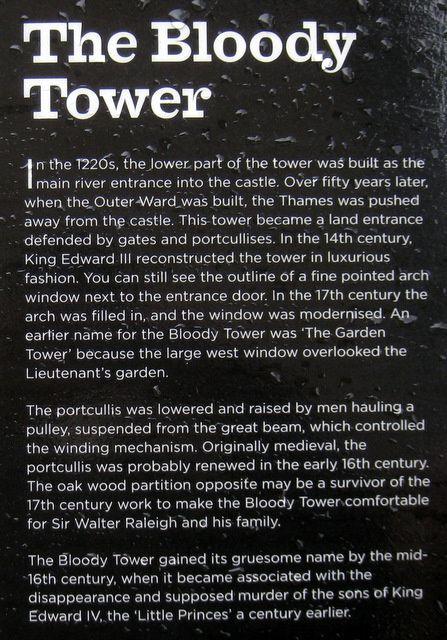 La tour sanglante de la Tour de Londres