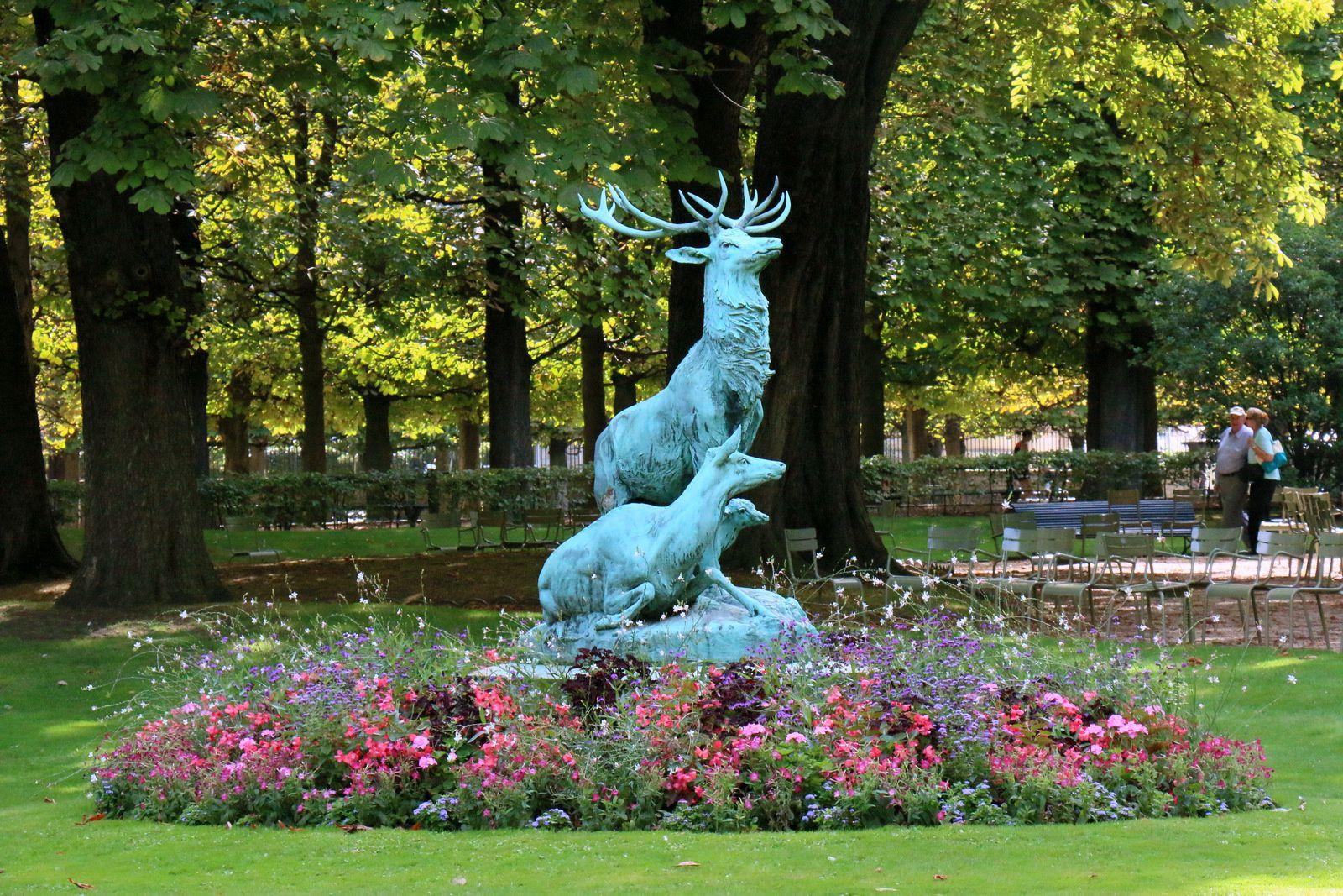 Harde de cerfs, sculpture par Arthur Jacques Leduc