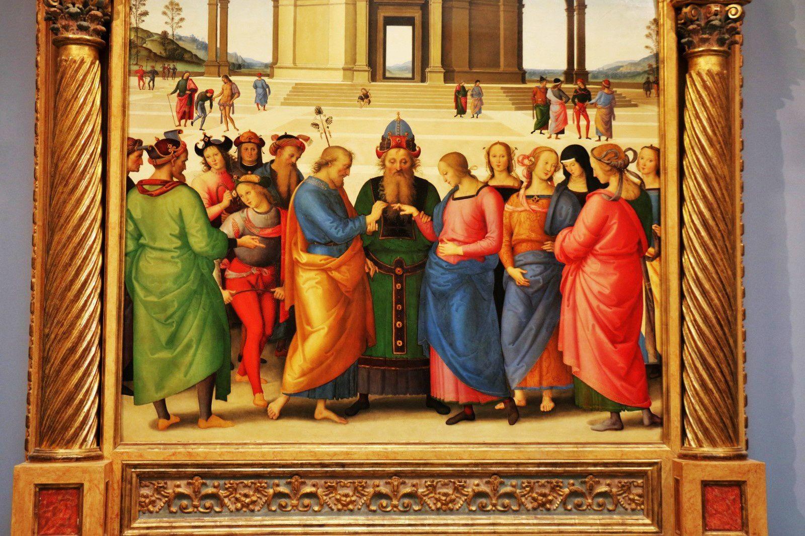 Le Mariage de la Vierge, huile sur bois de Pietro Vannucci dit Le Pérugin