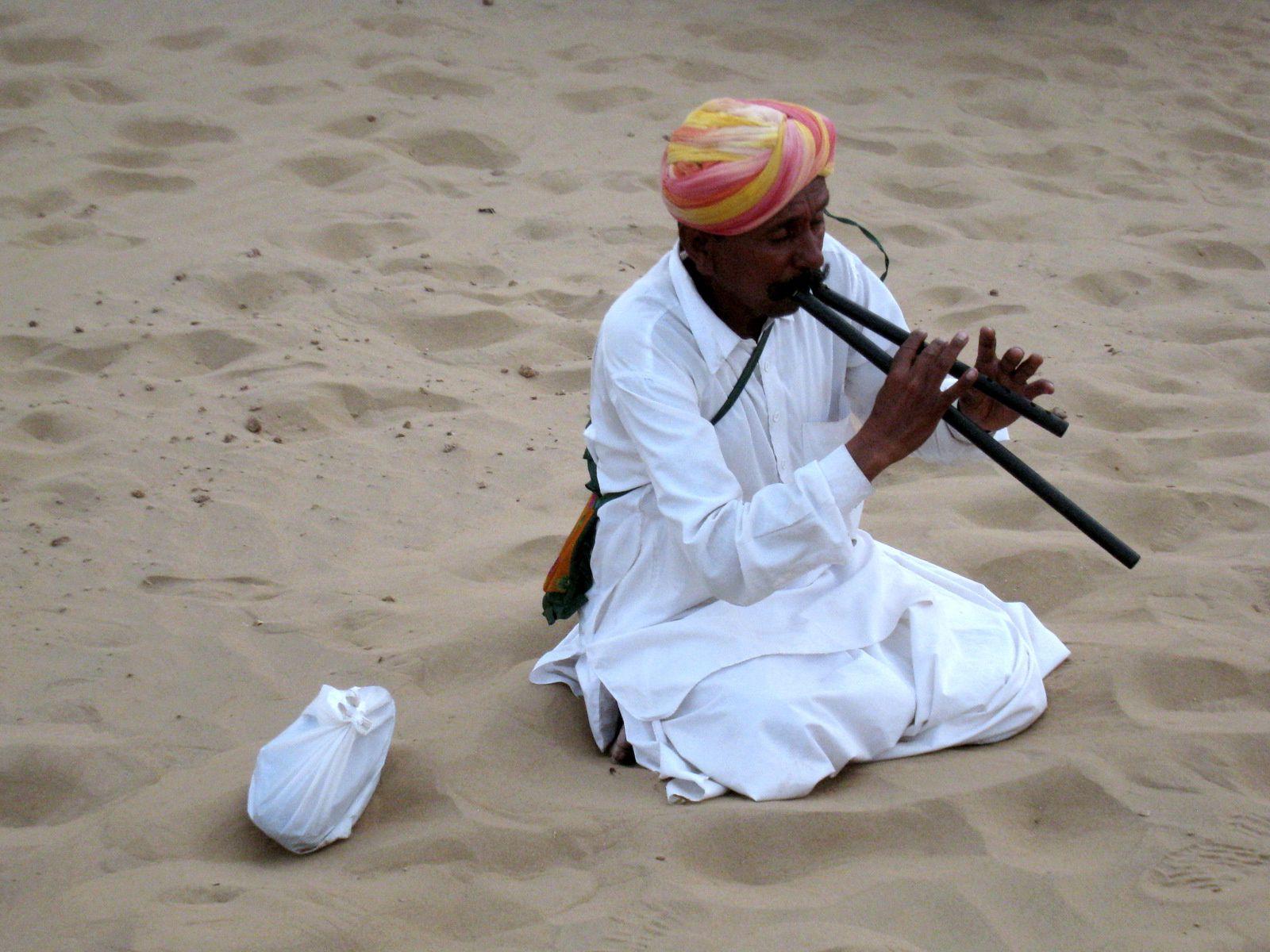 A dos de chameau dans le désert de Thar, Inde