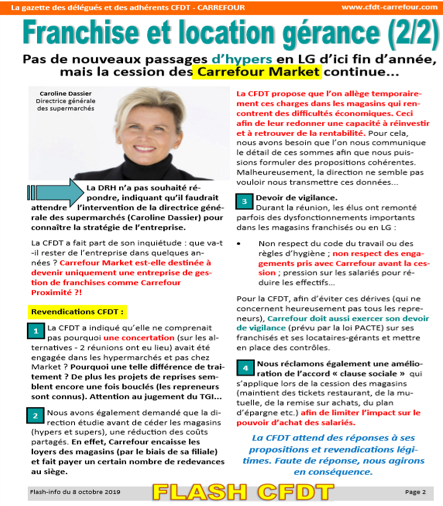 Articles Recents La Cfdt Chez Carrefour Market