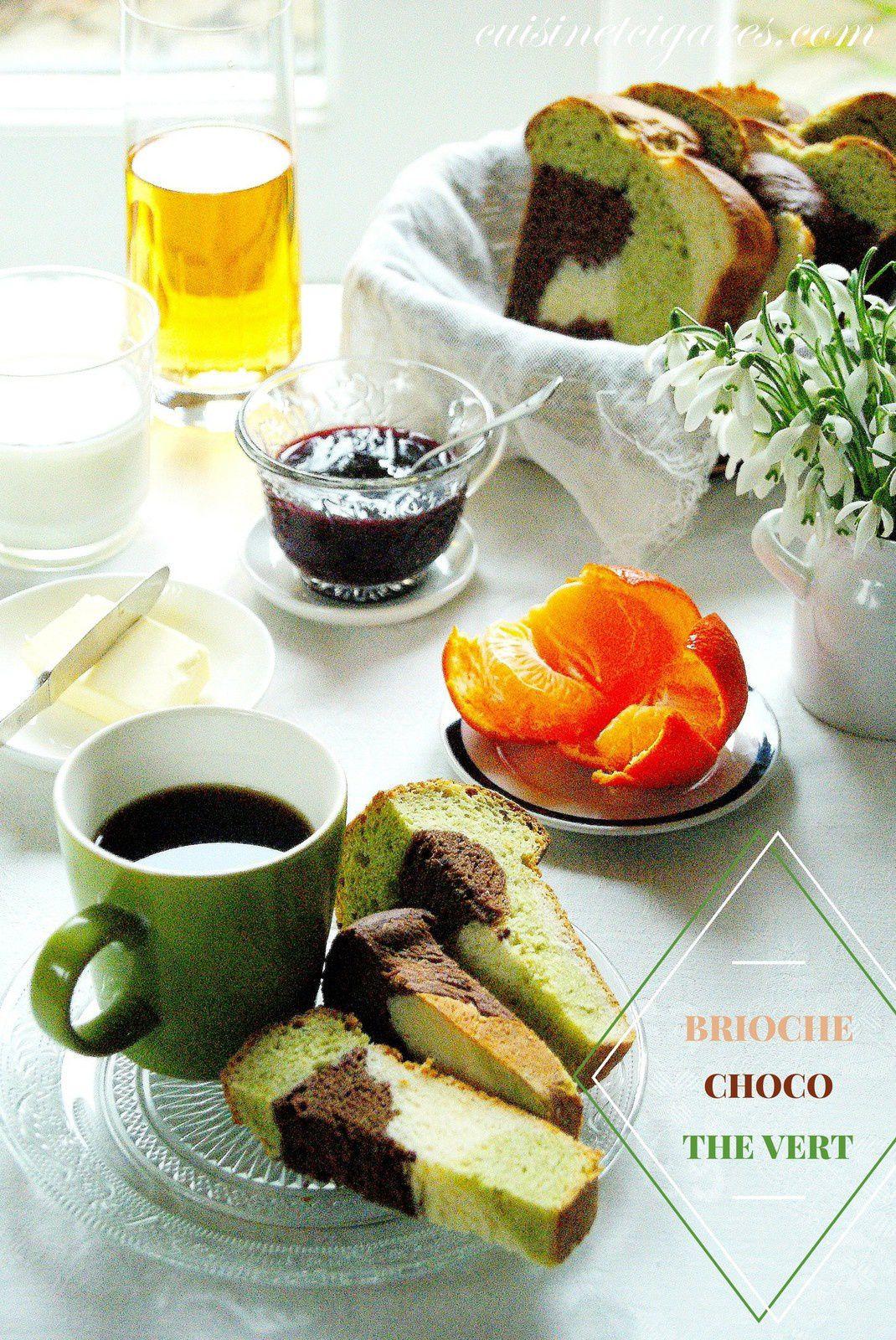 Brioche Tressée 3 couleurs, Chocolat et Thé vert, sans oeufs