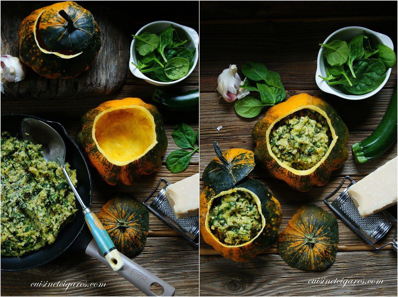Pâtissons farcis Quinoa, Courgette et Epinards