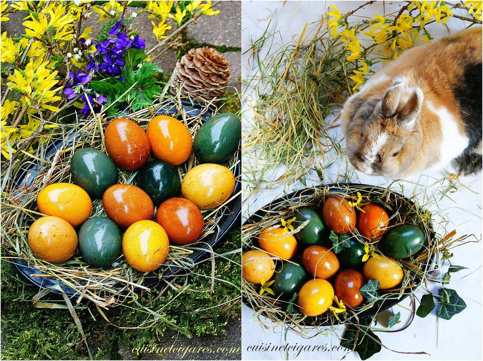 Oeufs de Pâques teintés naturellement