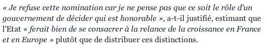 Piketty refuse la Légion d'honneur