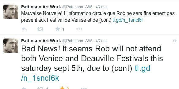 Deauville 2015 : Pattinson absent