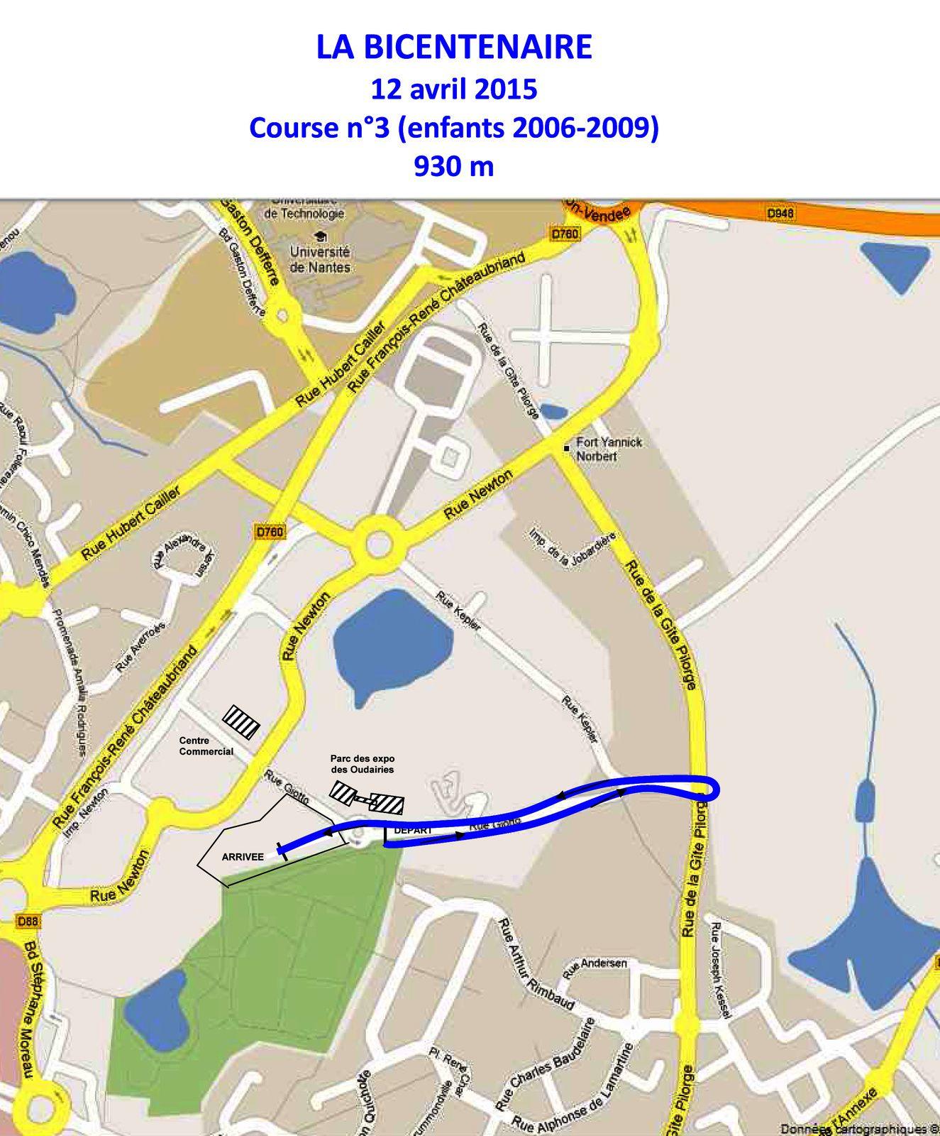 Plan courses Bicentenaire 2015 la Roche-sur-Yon.