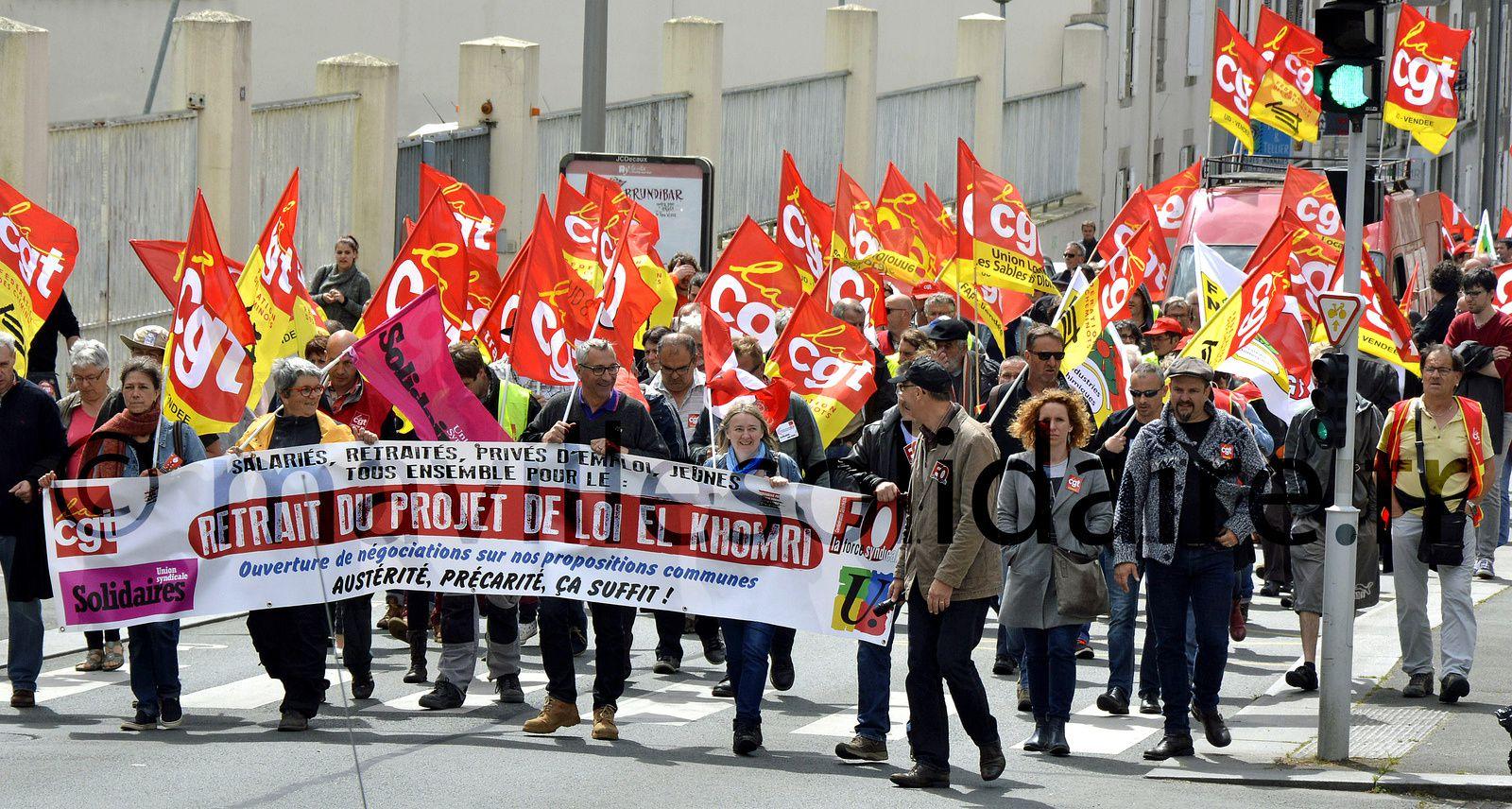 La Roche-sur-Yon. Loi travail manifestation jeudi 26 mai 2016.