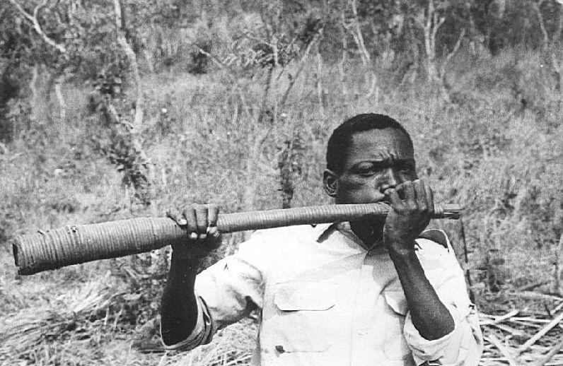 Um tocador de mpungi Zombo.