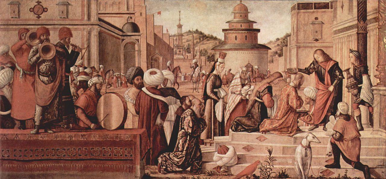 Troisième tableau de Carpaccio : saint Georges baptise les habitants de Silène